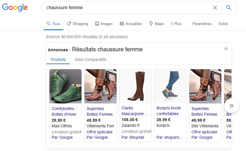 Etre visible sur Google, Shopping pour sites marchands
